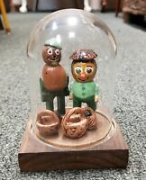 Vintage Folk Art Hand Carved/Painted People Made of Nuts Under Glass Dome
