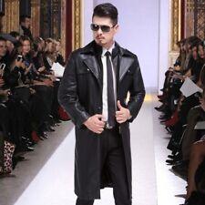 Winter Men's Leather Jacket Long Belt Lapel Trench Coat Warm Fur Lined Outwear