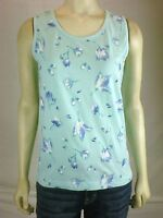Blue White Floral Sleeveless Tank Top Womens Size Small 4 6