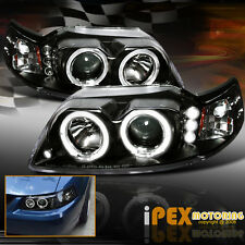BRIGHTEST ( Twin Halos ) Projector LED Black Headlights 1999-2004 Ford Mustang