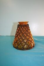 Amber Glass and  Steel Wire Framed Light Shade