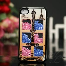 iPhone 4 4S Hard Case Schutz Hülle Etui Cover  fallende Strass Steine Eiffelturm