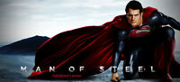 MAN OF STEEL 40x18 BANNER Superman 2013 movie vinyl poster #A justice league