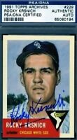 Rocky Krsnich Signed Psa/dna 1953 1991 Topps Archives Autograph Authentic