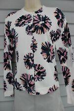 NWT Ann Taylor White Floral Long Sleeved Crewneck Cardigan M