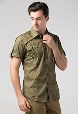 Military Mens Formal Casual Slim-Fit Dress Shirt Short Sleeve Tops T-Shirt S-XL