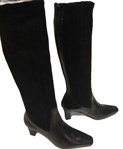 NWOB Trent Nathan  Black Leather/Suede Boots  Heels  Size EU36/ AU 6 RRP $329.95