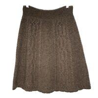 Moth Anthropologie Medium Skirt Brown Flowing Cables Wool Blend Sweater Skirt