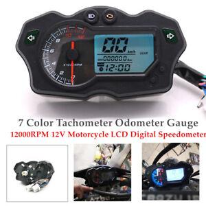 12000RPM 12V Motorcycle LCD Digital Speedometer 7Color Odometer Gauge Waterproof
