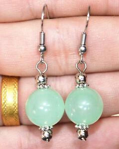 Beautiful 12mm Green Emerald Round Gemstone 925 Silver Hook Dangle Earrings