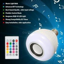 12W BT Speaker LED Bulb Light + Stereo Audio Remote Control for Party Disco E4M9