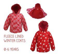 Girls Coat Kids Baby Jacket Winter Quilted Hooded Fleece Lined Ex Toby/Tiger