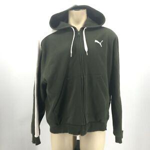 Puma Mens XL Full Zip Long Sleeve Hoodie Jacket Green White Stripe Cotton Blend