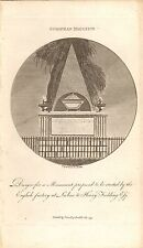 1793  ANTIQUE PRINT-DESIGN FOR MONUMENT TO HENRY FIELDING AT LISBON