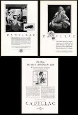 1924 CADILLAC LA SALLE Lot of 3 Vintage Antique Print Advertisement AD Lady art
