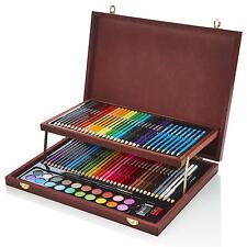 Artworx Artists Wooden Art Case Colouring Pencils Painting Set Childrens/Adults