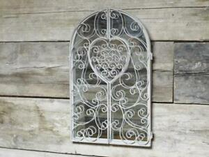 Distressed White Ornate Metal Shutter Mirror French Country Vintage Hearts Aged