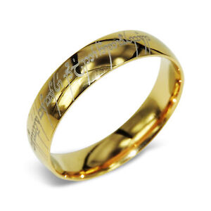 Personalized 18K Yellow Gold Flat Lord of the rings Wedding Titanium Ring AB057