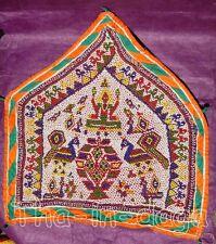 Toran Ancien Haut de Porte Gujarat Perle Miroir 45x49cm 460g Artisanat Inde 2x1