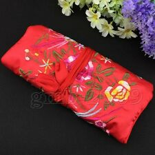 red  Flower Bird Embroidered Silk Make Up Bag Wrap Jewellery Roll