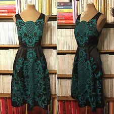 Baroque black satin green embroidered fit flare midi dress UK 8-10 / US 4-6