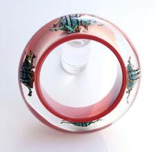 Large designer maroon lucite bracelet with four real beetles