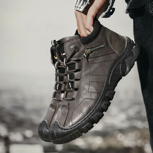 Mens Lace Up Leather Work Outdoor Casual High Top Non-slip Sports Hiking Shoes
