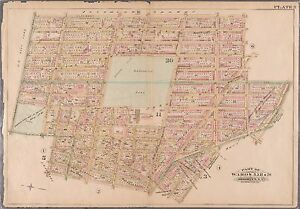 1886 FORT GREENE BROOKLYN NEW YORK WASHINGTON PARK CLERMONT AV-GOLD ST ATLAS MAP