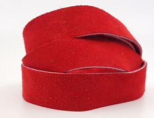 Strips of Suede Leather Red 48 Inches Length 4-4.5 oz. Choose Width