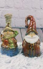 Christmas Santa Snowman Lot of 2 Set Bell Ringers China Porcelain Multicolor