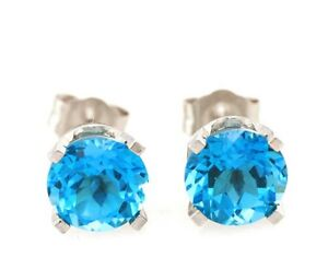 1.7ct Natural Swiss Blue Topaz 14K White Solid Gold Earrings Studs Diamond Alter