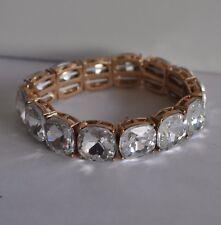 Bracelet In Gold Tone Kirks Folly Clear Crystal Stretch