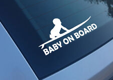 BABY ON BOARD SURF PLANCHE BLANC 15CM AUTOCOLLANT STICKER BA190