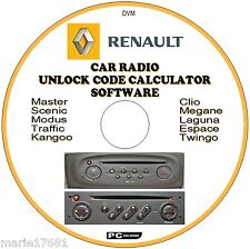 RENAULT CAR STEREO/RADIO CODE RECOVERY UNLOCK DECODE CD ESPACE TWINGO SCENIC ETC