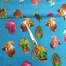 100% Cotton Indian Printed Peacock Soft Summer Dress Material Fabric 112cm Wide