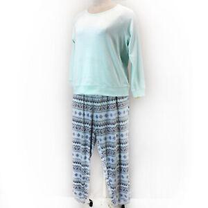 MUK LUKS Plus Aqua Green Velour Long Sleeve Top & Jogger Pant Pajama Set 3X