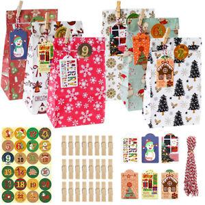 Christmas Advent Calendar DIY Countdown 24 Kraft Paper Bags with DIY Sticker_H4