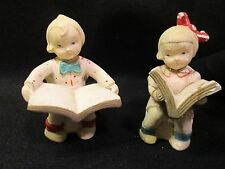 "Vintage Chalkware? bookends little girl and boy reading books 30""s look"