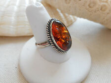 Sterling Silver Baltic Amber Ring  size 9.5   RE3216