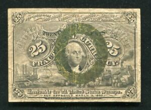 FR. 1284 25 TWENTY FIVE CENTS SECOND ISSUE FRACTIONAL CURRENCY NOTE VERY FINE