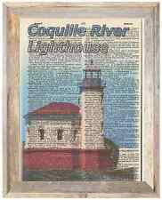 Coquille River Lighthouse Oregon Altered Art Print Upcycled Vintage Dictionary