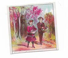 Autumn Trees Boy Girl Walking Down Lane Basket No Advertising Vict Card c1880s