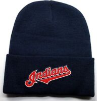 READ LISTING! Cleveland Indians HEAT Applied Flat Logo on Beanie Knit Cap hat!!!