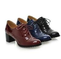 Womens Pointy Toe Brogues Oxford Lace Up British Patent Leather Block Shoes Size