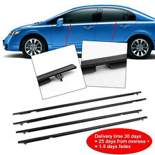 4x Weather Strips Window Moulding Trim For 06-11 Honda Civic(30DayDelivery)