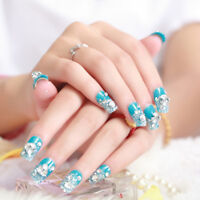 24 Pcs/Set Glitter Blue Bride 3D Fake Nails Wrapped Tips Artificial False N E AF