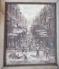fine old oil canvass painting China city street scene signed Snail