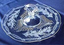 Tiffin Glass CHS Center Handle Serving Tray Plate Server No.15360 With Cutting