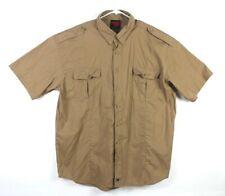 Massif Mens Size XL Khaki Shirt Full Button Double Pocket EUC
