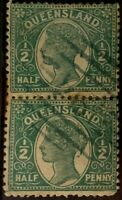 Queensland QV 1890 - 1/2d Side Green Faced - Block of 2 Stamps - VFU